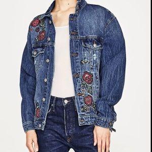 Zara embroidered Love Roses Denim Jacket S